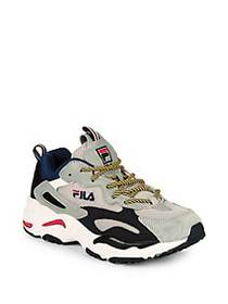 FILA Ray Tracer Logo Lace-Up Sneakers GREY BLACK