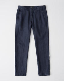Skinny Linen Pants, NAVY BLUE