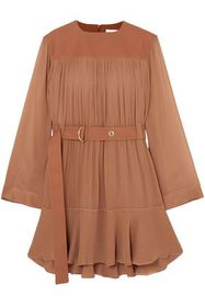CHLOÉ Belted mousseline and silk-blend crepe mini