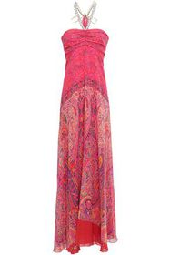 ETRO Draped embellished printed silk-georgette gow