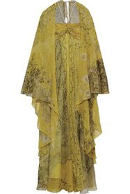 ETRO Cape-effect embellished metallic floral-print