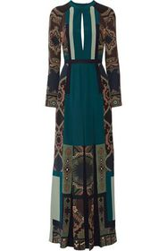 ETRO Open-back pleated printed silk crepe de chine