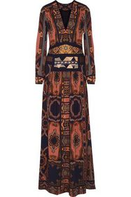 ETRO Embellished printed crepe maxi dress