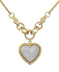 D'Oro by EFFY Diamond Pavé Diamond Heart Pendant (