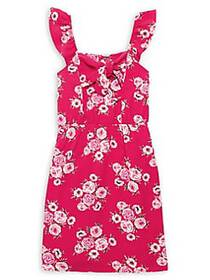 Monteau Girl's Sleeveless Floral Bow Dress CORAL I
