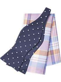 Tommy Hilfiger Navy Dot with Pink Plaid Bow Tie &