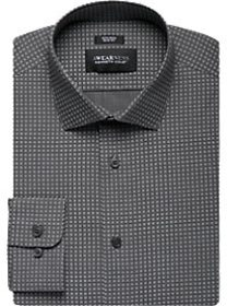 Awearness Kenneth Cole Gray Squares Slim Fit Dress