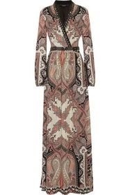 ETRO Wrap-effect embellished silk crepe de chine m
