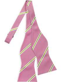 Tommy Hilfiger Pink & Light Green Stripe Bow Tie