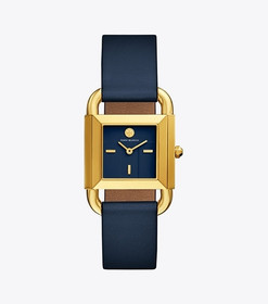 Tory Burch PHIPPS WATCH, NAVY LEATHER/GOLD-TONE, 2