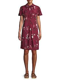 Valentino Floral Silk Button-Front Dress CASSIS