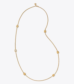 Tory Burch BLOCK-T LOGO ROSARY NECKLACE