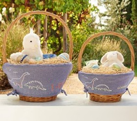 Pottery Barn Chambray Embroidered Easter Basket Li