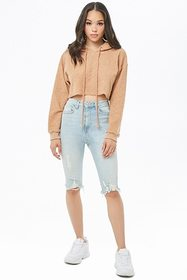Forever21 Fuzzy Cropped Hoodie