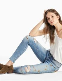 Lucky Brand Ava Mid Rise Skinny Jean With Embroide