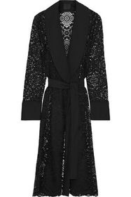 ANNA SUI Belted crepe-paneled lace jacket