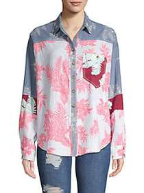 Free People Chasing Waves Button-Down Shirt BLUE