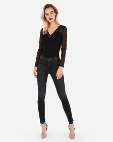 Express v-neck mesh long sleeve top