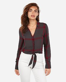 Express printed button-up tie front shirt