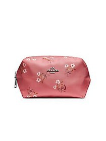 COACH Small Floral Boxy Cosmetic Pouch PINK