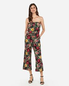 Express tropical print strapless culotte jumpsuit