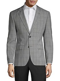 HUGO Plaid Wool Jacket MID GREY