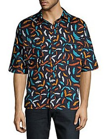 BOSS Paint-Print Short-Sleeve Utility Shirt NAVY