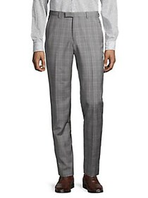 HUGO Simmons Plaid Wool Dress Pants MID GREY