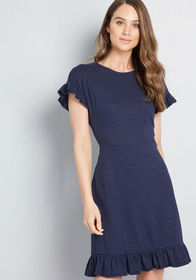 ModCloth ModCloth Glam Goings Knit Dress Navy