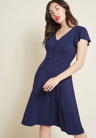 Recommended Ruffles Knit Dress in Navy Navy