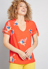 ModCloth ModCloth Ideal Discovery Short Sleeve Blo