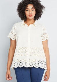 ModCloth ModCloth Eyelet Success Button-Up Top Ivo