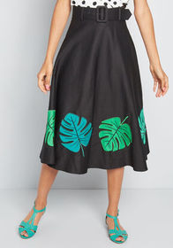 Collectif Collectif Talk Tropical Midi Skirt in Bl