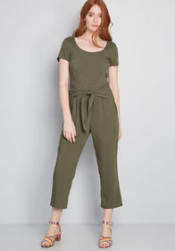 ModCloth Bay Area Believer Cropped Jumpsuit Olive