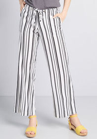 Genuinely Airy Linen Pants Black/White