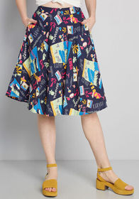 ModCloth Just This Sway A-Line Skirt Navy Print