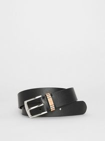 Burberry Check Detail Grainy Leather Belt in Black