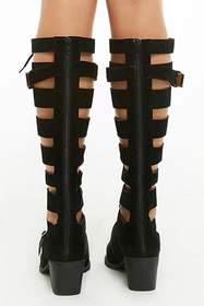 Forever21 Lace-Up Cutout Knee-High Boots
