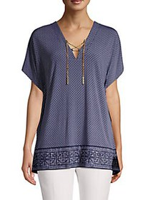 MICHAEL Michael Kors Lace-Up Printed Tunic TRUE NA