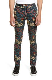 Topman Stretch Skinny Fit Japan Print Suit Trouser