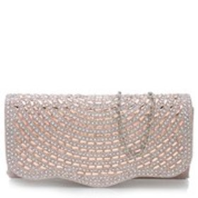 D'MARGEAUX Curved Baguette Crystal Metallic Clutch