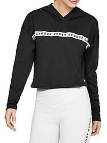 Under Armour Logo Taped Cropped Cotton Blend Sweat