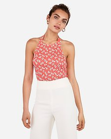 Express floral smocked high neck halter top