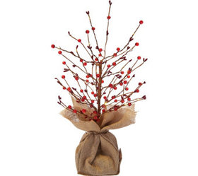 "Bethlehem Lights 18"" Lit Beaded Berry Branch Tree"