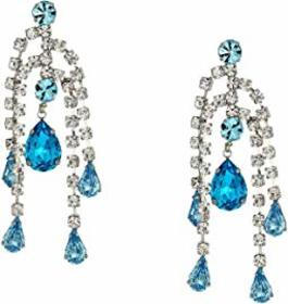 Kenneth Jay Lane 5 Row Crystal with Aqua Drop Dire