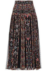 VALENTINO Embellished pleated point d'esprit-panel