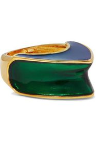 KENNETH JAY LANE Gold-plated color-block enamel ri