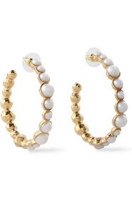 KENNETH JAY LANE Gold-tone faux pearl hoop earring