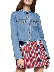 BCBGeneration Mockneck Denim Cropped Jacket LIGHT