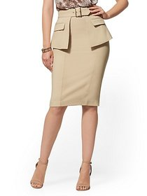 Belted Overlay Pencil Skirt - All-Season Stretch -